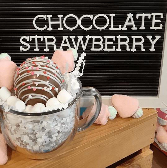 chocolate covered strawberry hot chocolate bomb