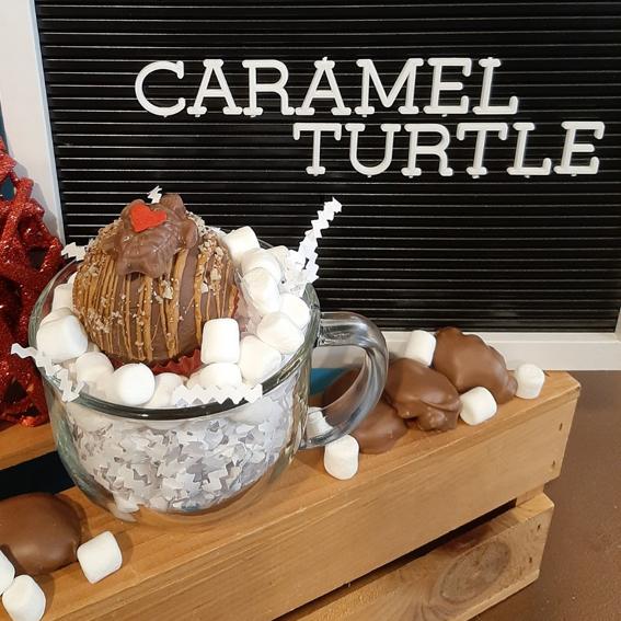 caramel turtle hot chocolate bomb